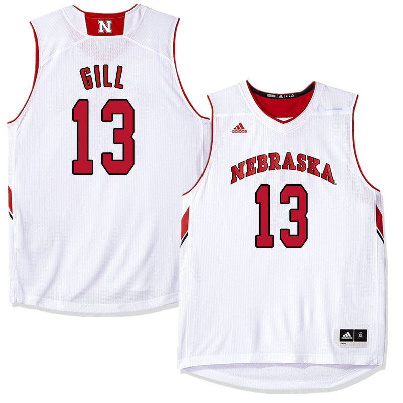 Men Nebraska Cornhuskers #13 Anton Gill College Basketball Jersyes Sale-White