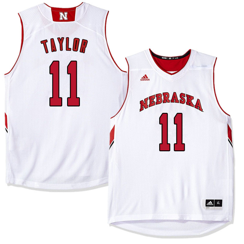 Men Nebraska Cornhuskers #11 Evan Taylor College Basketball Jersyes Sale-White