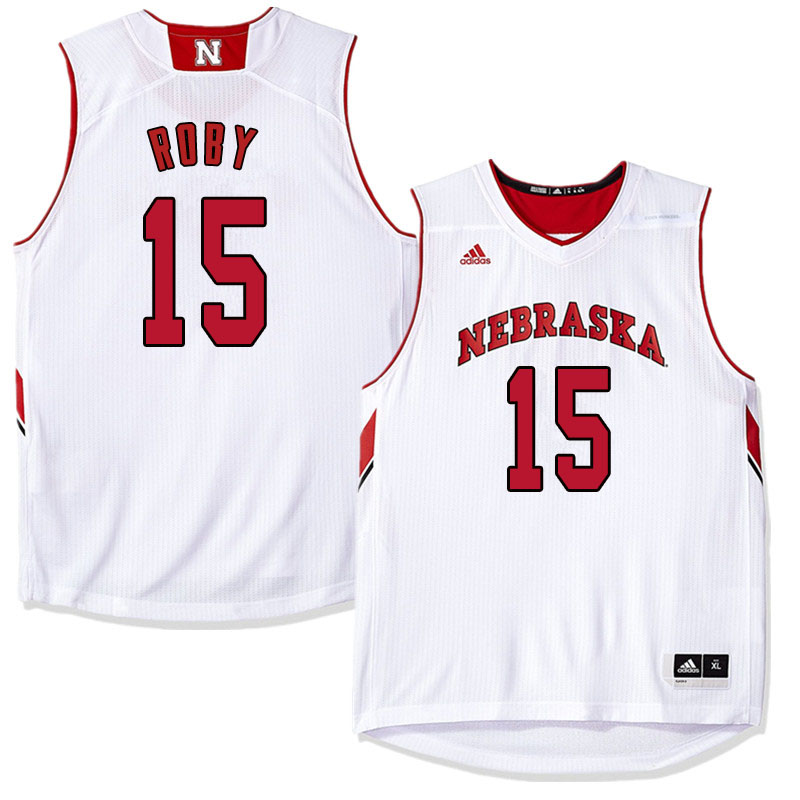 Men Nebraska Cornhuskers #15 Isaiah Roby College Basketball Jersyes Sale-White