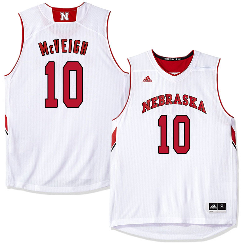 Men Nebraska Cornhuskers #10 Jack McVeigh College Basketball Jersyes Sale-White