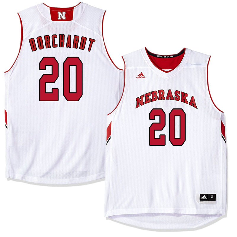 Men Nebraska Cornhuskers #20 Tanner Borchardt College Basketball Jersyes Sale-White