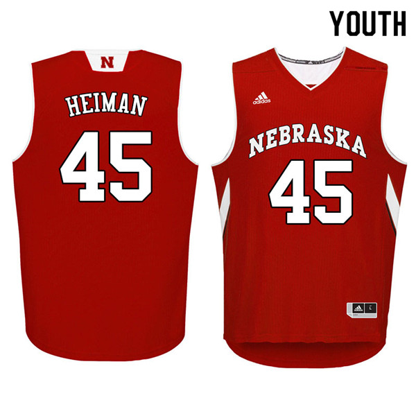 Youth Nebraska Cornhuskers #45 Brady Heiman College Basketball Jerseys Sale-Red