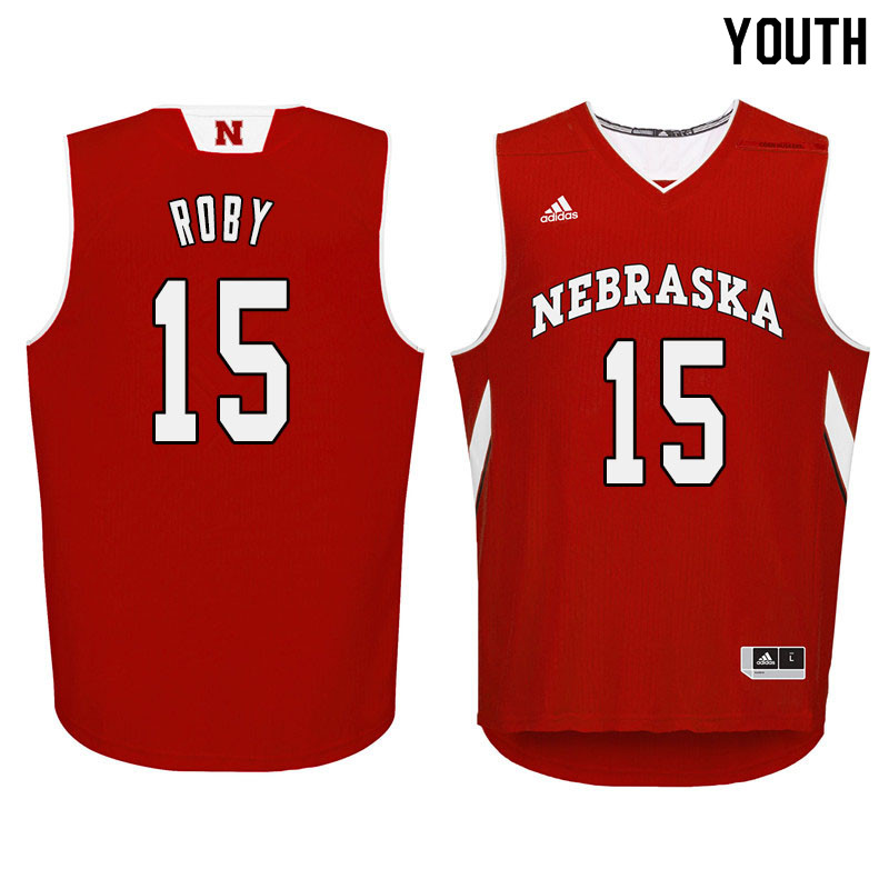 Youth Nebraska Cornhuskers #15 Isaiah Roby College Basketball Jersyes Sale-Red