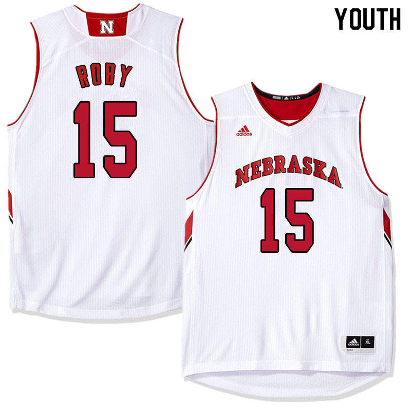 Youth Nebraska Cornhuskers #15 Isaiah Roby College Basketball Jersyes Sale-White