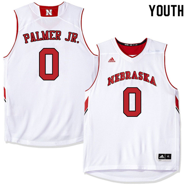 Youth Nebraska Cornhuskers #0 James Palmer Jr. College Basketball Jerseys Sale-White